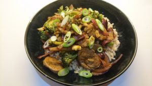Sichuan pork, broccoli and cashew stir-fry