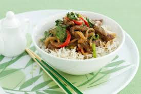 Stir-fry beef with peanuts and choy sum