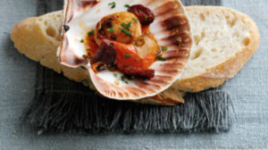 Scallops and chorizo