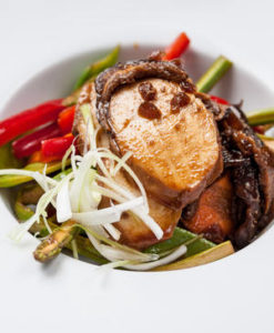 Soy chicken with shiitake mushrooms and lightly pickled vegetables