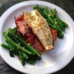 Sea Bass and Crispy Pancetta with Sweet Potato Mash and Asian Greens